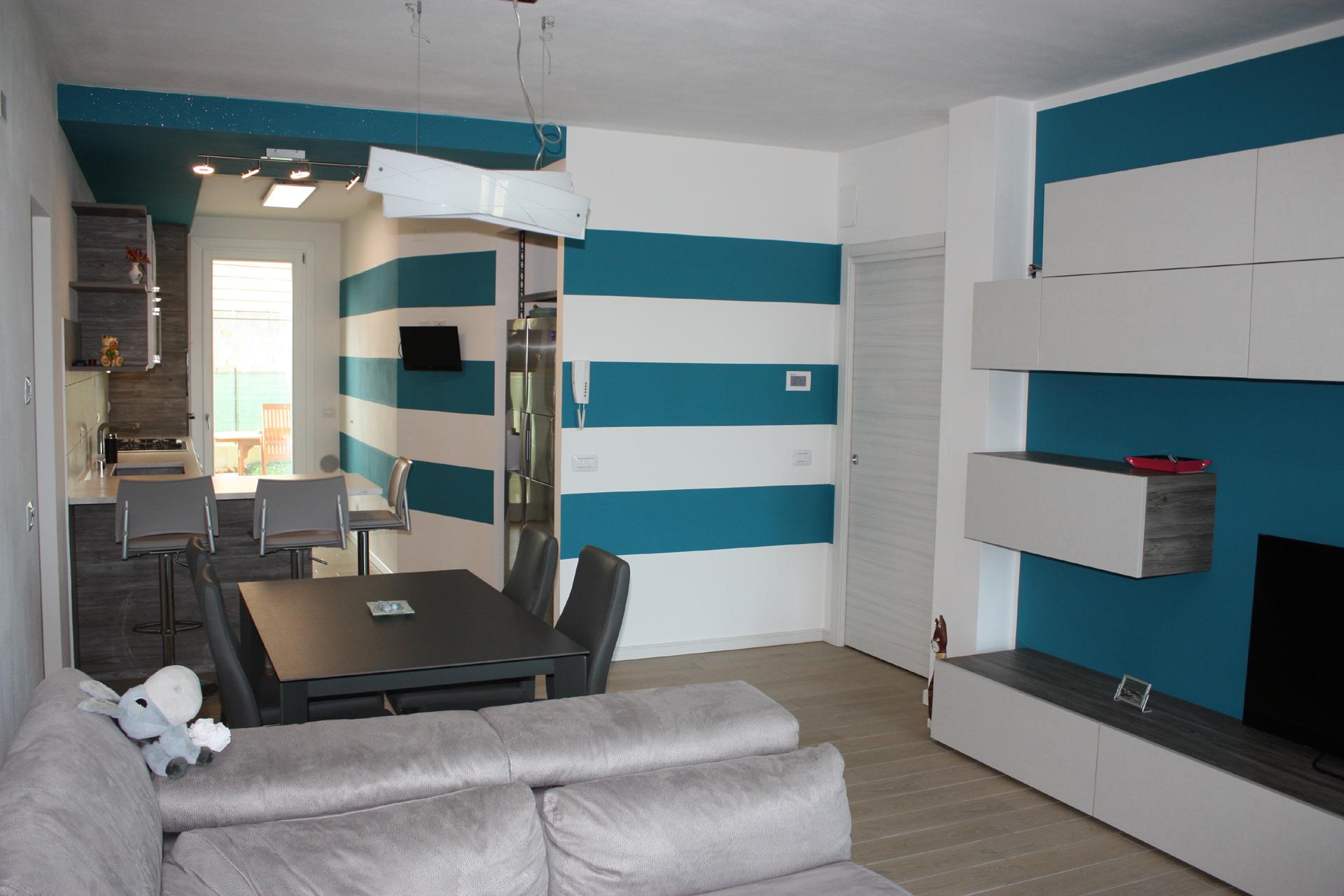Blu balena! Cucina e soggiorno a tema. Design FA